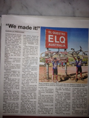 Local newspaper Article about our trek
